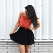 LIZZY LACE TOP DOTS RED RUFFLE SKIRT BLACK
