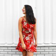 SASKIA FLOWER DRESS RED