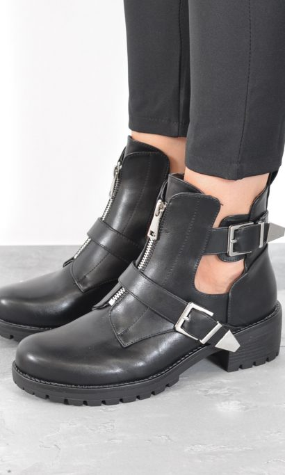 BELTED ZIPPER ANKLE BOOTS