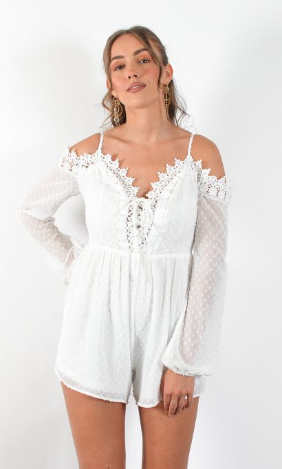 CURA LACE PLAYSUIT WHITE