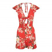 SISSA FLOWER PLAYSUIT RED