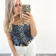 leopard tee grey