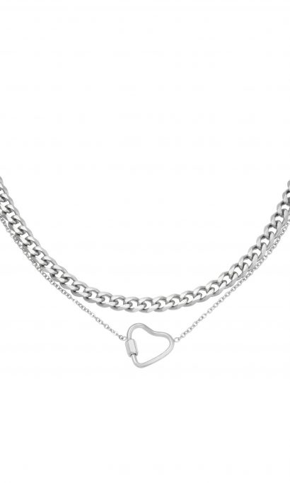 CHAIN HEART NECKLACE SILVER