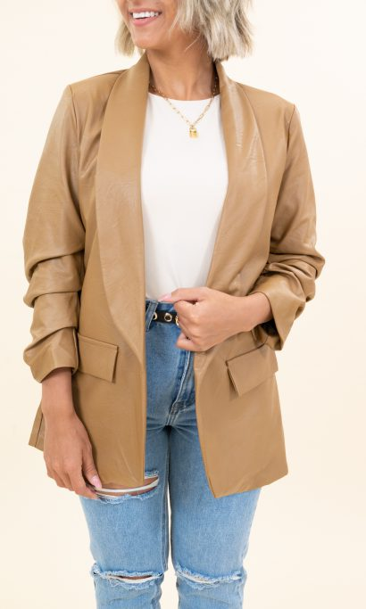 LIZZY BLAZER LEATHER LOOK BROWN