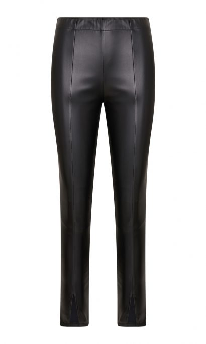 CINDY LEATHER SPLIT PANTS BLACK