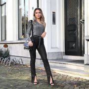 SORAYA GLITTER SPLIT PANTS BLACK