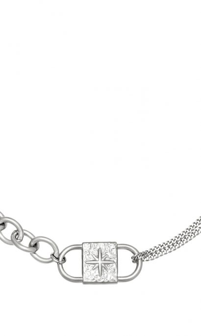 CHUNKY LOCK NECKLACE SILVER