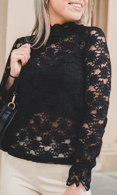 MICHEL LACE TOP BLACK