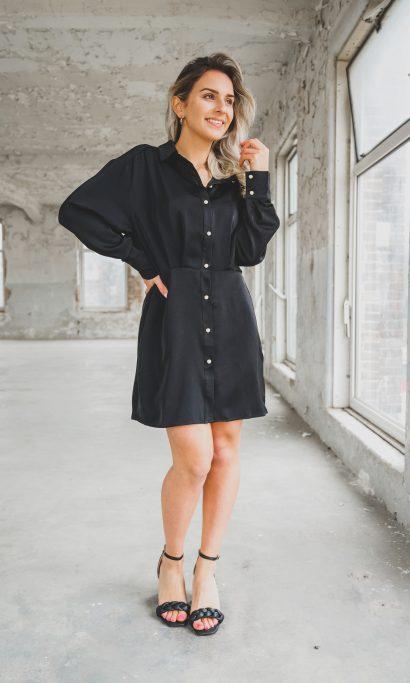 NINI SATIN PEARL DRESS BLACK