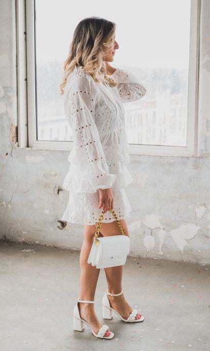 MEY RUFFLE DRESS WHITE