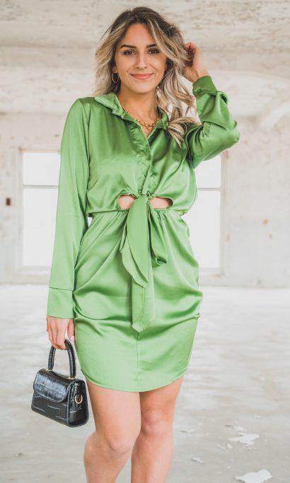NORA SATIN KNOT DRESS GREEN