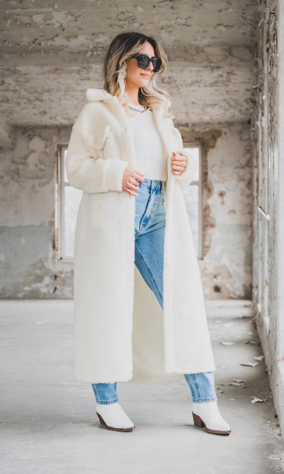 DONNA TEDDY COAT LONG WHITE
