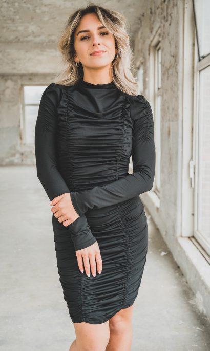 AIMY RIB DRESS BLACK
