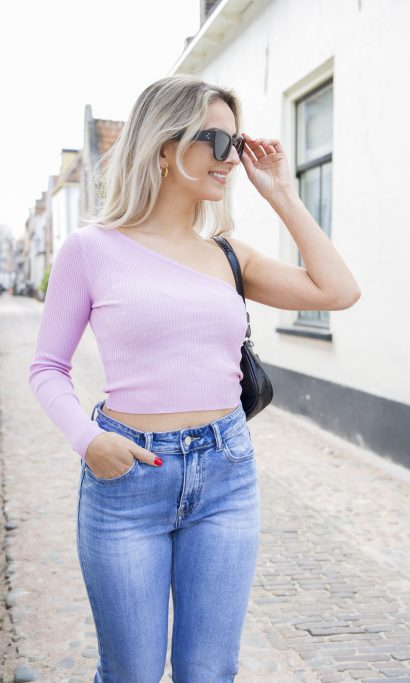 MAY ONE SHOULDER TOP LILA