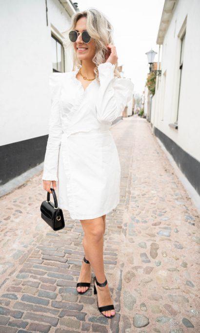 ELISE RUFFLE DRESS WHITE