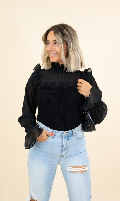 CHANEL LACE TOP BLACK