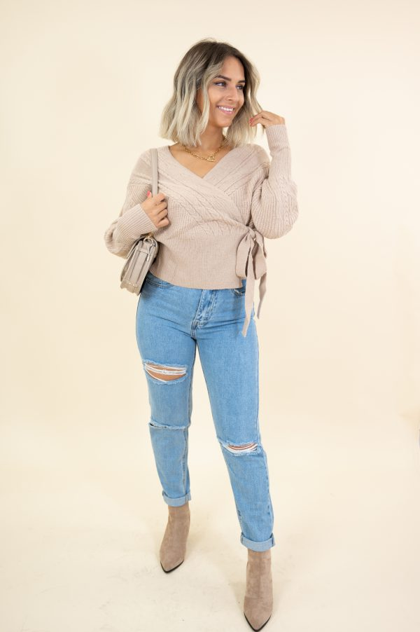 CABEL WRAP SWEATER TAUPE