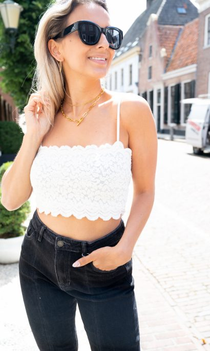 EVI LACE CROP TOP WHITE