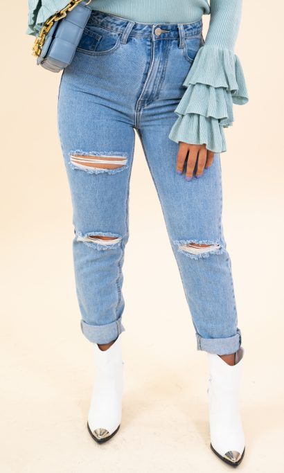 CEYLIN RIPPED JEANS BLUE