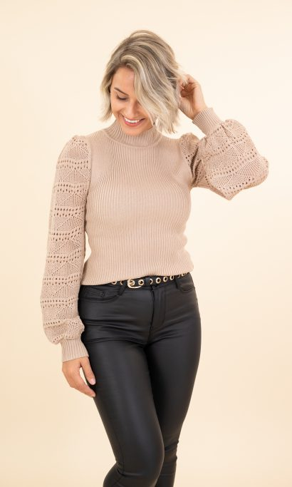 BO LACE SWEATER TAUPE